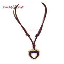 musiling Adjustable Leather Necklace Heart Pendant Charms Lovers Punk Rock Hiphop Decorations Amulet Fashion Jewelry 1pcs(China)