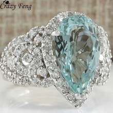 Crazy Feng Trendy Blue Zirconia Stone Anel Bijoux Siver Color Hollow Carved Big Bague Feeme Weddding Party Gift Accessories(China)