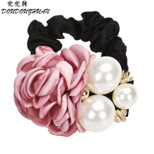 Best Deal New Good Quality 1PC Pearls Beads Rose Flower Hair Band Rope Scrunchie Ponytail Holder Girls Headdress Hair Ropes Gift(China)