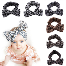 Newborn Girl Fashion Headband Kids Turban BowKnot Headbands Leopard Print Cotton Jersey Blend Knit Bows Hair Bands Accessories