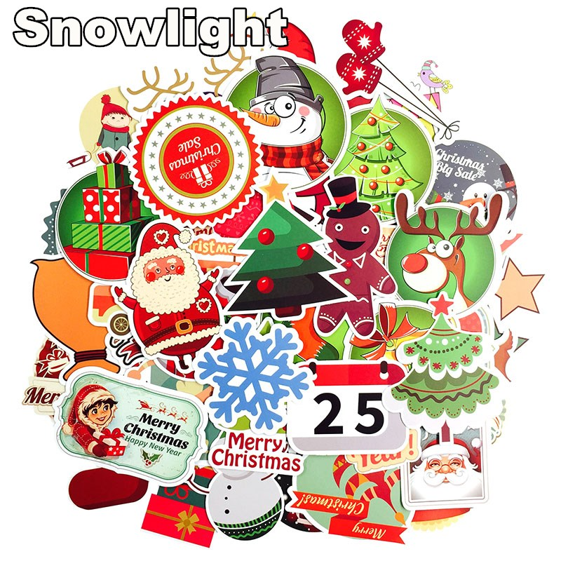 100 Pcs Christmas Cartoon Stickers For Car Notebook Laptop Showcase Cookies Sticker Toys for Children Decoration New Year Gifts