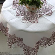 Export European style color beige satin soluble lace tablecloths Discounted multi-standard(China)