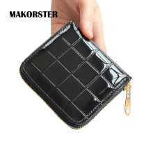MAKORSTER Fashion Mini Wallet for girls Patent leather Wallet purse luxury brand wallet female Zipper Short ladies clutch XH280
