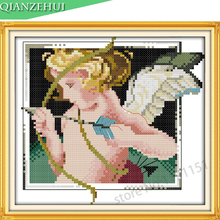 QIANZEHUI,Needlework,DIY printing characters Cupid angel baby Cross stitch,Sets For Embroidery kits Cross-Stitch,Wall Home Decro