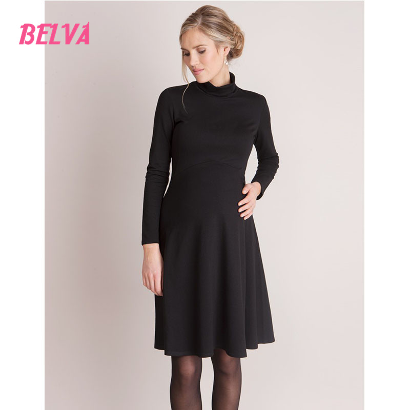 Belva Black fashion turtleneck Dress maternity nightdresses long sleeve maternity dress party dresses for pregnant women ds903<br>