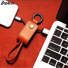 Aokin Leather Key Chain USB Cable For iPhone For Micro USB Type C Key Ring Cables For Samsung For Huawei Fast Charging Data Line(China)
