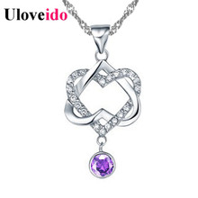 5% Off Love Crystal Pendant Necklace Purple Ladies Fashion Jewelry Christmas Necklaces & Pendants Colar Double Heart Shape N576(China)