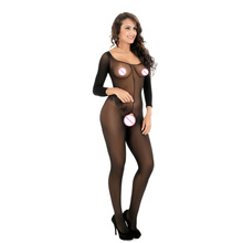 Buy Women Glamor black perspective sexy lingerie Hollow Open Crotch Babydoll Elastic Teddy long-sleeved Erotic underwear W8610