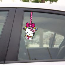 Aliauto Funny Car Sticker Hello Kitty Hang The Car Window accessories For VW Golf 7 Golf 5 Mazda Smart Opel Fiesta Focus Cruze(China)