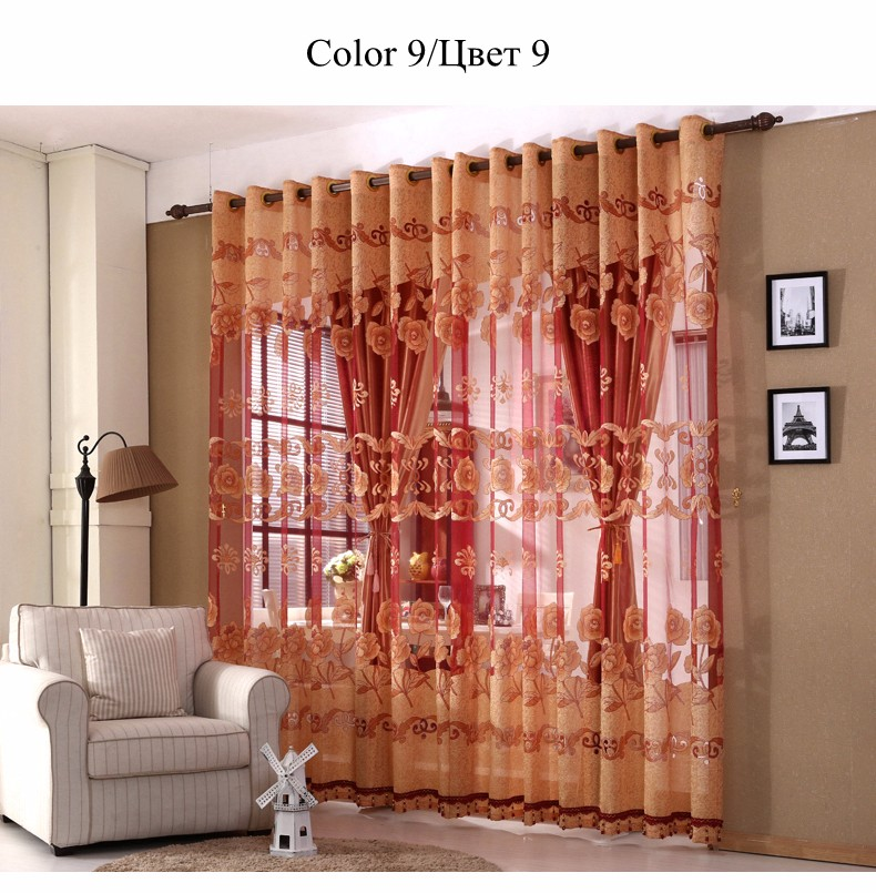 European Royal Curtains 11 Colors Embroidered Voile Curtains for Living Room Drapes Crystal Beaded Curtains Sheer (33)