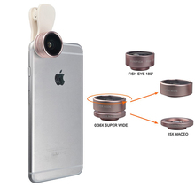 Clip on 3in1 HD font b Lens b font Kit Fisheye 0 36X Wide Angle 15X