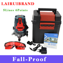 Lairui 5 lines 6 points laser level Fall- Proof 360 rotary cross laser line leveling can be used with outdoor receiver(China)