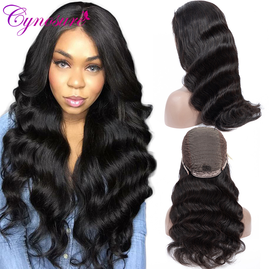 Cynosure 13*5 Lace Front Human Hair Wigs Pre Plucked Hairline Brazilian Body Wave Lace Frontal Wig with Baby Hair for Women Remy(China)