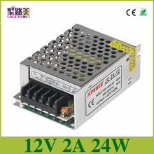 Free shipping AC110-220V to DC 12volt 2amp regulated switching transformer charger for LED Light Strip Lights 24w power supply