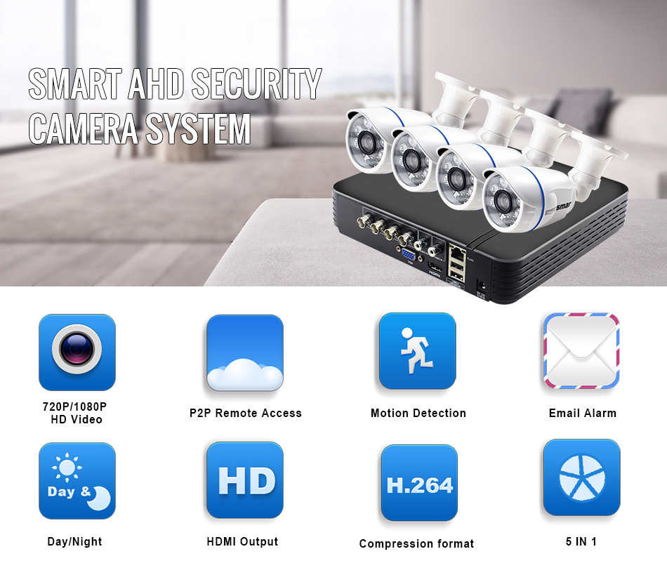 Smar CCTV 4CH 720P 1080P AHD Camera Kit P2P HDMI DVR Video Surveillance System Waterproof Outdoor Security Camera- Kit (1)