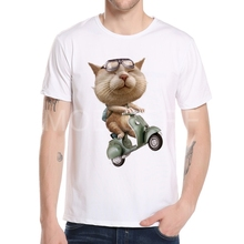 New Summer 3D Cat Motorcycle Vespa Men Tshirt Fashion Cartoon motorcycle Logo Men Hip Hop White T shirt Tees Mens Clothing K8-3#