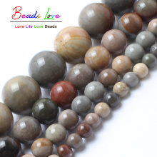 Wholesale Natural Ocean Stone Round Loose Beads For Jewelry Making 15inches Strand 4 6 8 10 12mm Diy Bracelet Free Shipping