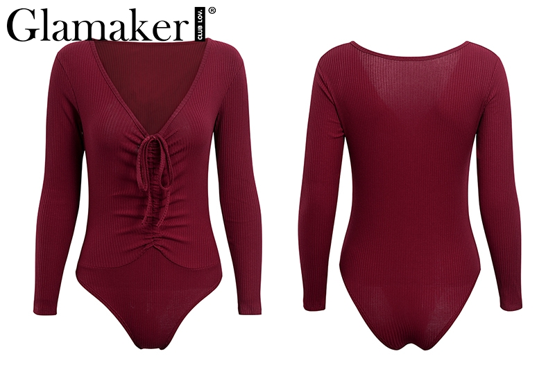 Deep V-Neck, Long Sleeve Women's Bodysuit, Sexy Drawstring Bodysuit 19