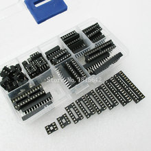 66PCS/Lot DIP IC Sockets Adaptor Solder Type Socket Kit 6,8,14,16,18,20,24,28 pins New