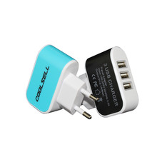 3 Ports USB Wall Charger travel charger USB wall charger for iPhone Samsung HTC Universal Mobile Phone/Tablet Carregador