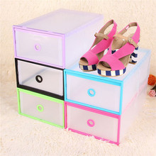 Brand New Multicolor Optional Transparent Clear Plastic Stackable Shoe Box Case Home Storage Container Office Organiser