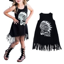 2017 Casual Personality Style Baby Black Wild Fringed Dress New Spring Girls Dress Children's Clothing