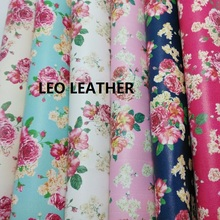 New Style Floral Fabric Fabric for DIY Leather PU Eco Leather with Printed Rose Faux Leather Fabric Synthetic Leather Fabric P51