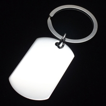 Silver Tone Stainless Steel Blank Engravable ID Dog Tag Charm Pendant Key Chain Key Holder Necklace Chain 60cm Long