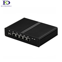 Best choice 4*LAN Quad Core fanless mini pc Celeron J1900 lan computer VGA 2GHz Intel nuc htpc nettop pc tv box 2G RAM 32G SSD