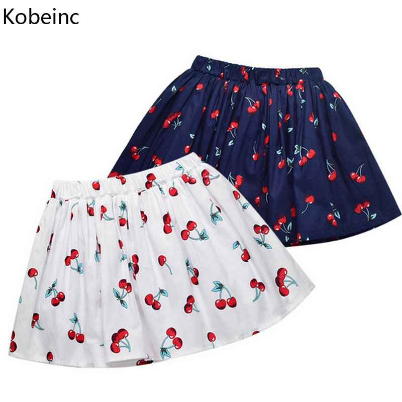Kobeinc New Skirt Girls Summer Autumn Children Clothes Cute Print Pleated Baby Skirts Casual Roupas Infantis Menina 2-7Y