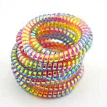 5cm Lot 10 Pcs Colorful Elastic Rubber Hairband Telephone Wire Hair Tie Rope Band Ponytail Hair Accessories(China)