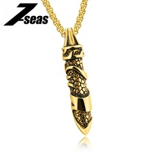 7SEAS Military Bullet Pendant Necklace For Men Male Dragon Skin Punk Style Stainless Steel Box Chain Maya Tombstone 1205