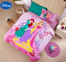 Princess Comforters Sets Bed Covers Bedclothes Cartoon Disney Bedding Textile Girls Baby Home Decor Single Queen Cotton Fabric(China)