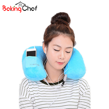 U-Shape Inflatable pillow Portable Flannel travel neck pillow Home Garden Textile Item Stuff Accessories Supplies Product