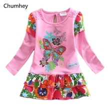 2-6 Years Little Girls Dress Spring Cotton Cute butterfly Full Sleeves Kids Nightgown pajamas Children Clothing Girl Clothes