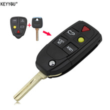 KEYYOU Shell Folding Flip Smart Keyless Entry Remote Key Case Fob 5 Button For Volvo S80 S60 V70 XC70 XC90