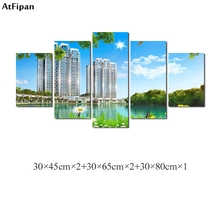 AtFipan Newest City Landscape Wall Art Pictures 2018 Fashion Building Printed on Canvas Home Decorations Paintings Unframed(China)