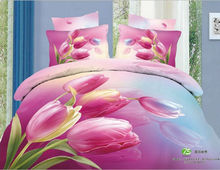 Home Textiles 100% Cotton 3D Bedding Set  King Or Queen Pink Tulip Flower