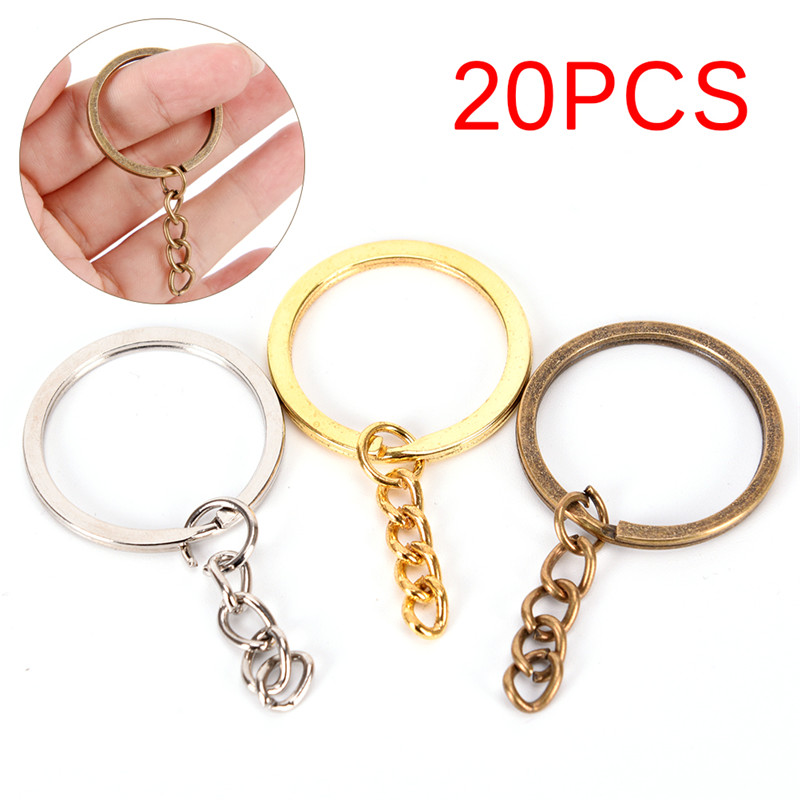 20pcs/lot Metal Key Rings Key Chains Antique Bronze Gold Rhodium Color Long Keyrings Split Rings KeyChains Wholesale