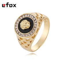 Best Selling High Quality  Cubic Zirconia Hip Hop Medusa Head Man Ring Gold Color 18 KRGP