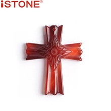 ISTONE Brand 2017 Fashion Casual Unisex Natural Stone Agat Cross Pendant for Decoration & Free Shipping(China)