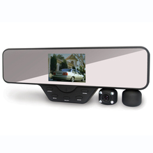 1080P Mirror Car DV with Dual Rotatable Camera Lens for Single & Dual Recording Optional with 3.5inch TFT Live Display Screen