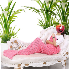 Wholesale Mermaid Tail Blanket, Icarekit, Knitted Mermaid Tail Blanket Handmade Crochet Throw Super Soft Sofa Bed Mat 820032