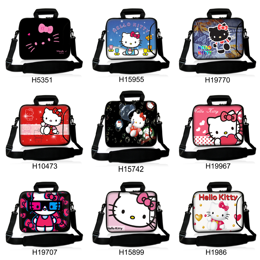 "Cute Cat Hello Kitty Design Laptop Shoulder Bag Notebook Sling Bag Ultrabook Messenger Carrying Case 10""13""14""15""17""inch For HP(China)"