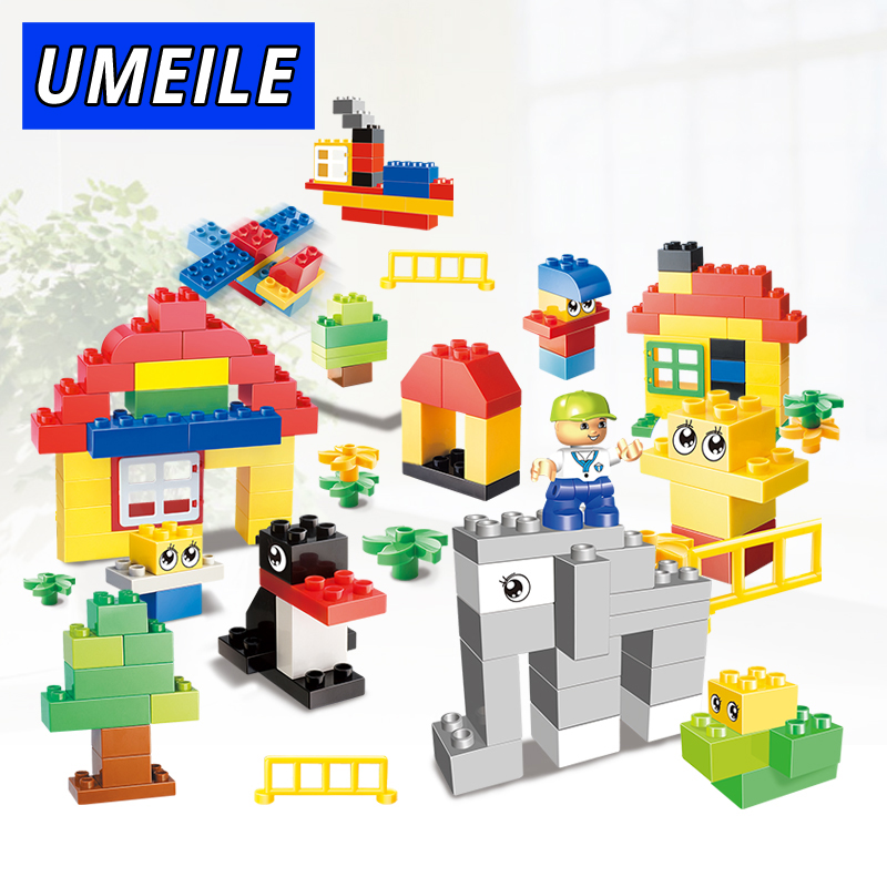 UMEILE Brand 123PCS Zoo Park Animal Baby Diy Toys Original Clsaaic Building Block Assemble Brick Set Compatible with Duplo Gift<br>