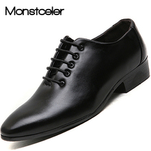 Monstceler British Fashion Men's Dress Shoes Pure Black White Wedding Shoe New Pointed Toe Leather Flats M83721(China)