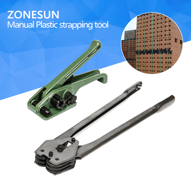 ZONESUN  Manual Plastic strapping tool manual strapping tool sealer and tensioner for 12mm 16mm strap<br>