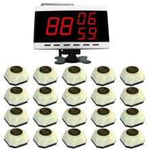 Waiter paging system,food restaurant call, 20 pcs white table button and 1 pc display receiver,singcall APE560.