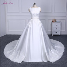 Elegant Cap Sleeves Bridal Dress Beautiful Lace Up A Line Wedding Dress Luxury Pure Satin Princess Wedding Gown(China)