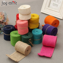 JOY-ENLIFE 2M/roll 6cm DIY Ornament Natural Jute Burlap Hessian Ribbon Rustic Vintage Wedding Decoration Craft Handmade Supplies(China)